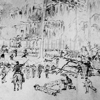 Battle of Grand Coteau, Louisiana. Furious Attack of the Rebels