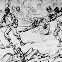 The Advance on Petersburg - Colored Infantry Drawing Captured Guns to the Rear After the Fight