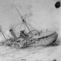 Destruction of the U.S.A. gunboat Hatteras by a Rebel Cruiser off Galveston, Texas